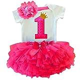 TTYAOVO Bebé Niña 1er cumpleaños 3pcs Conjuntos con Diadema de Unicornio y Mameluco y Faldas 1 Años 13 Rosa Roja
