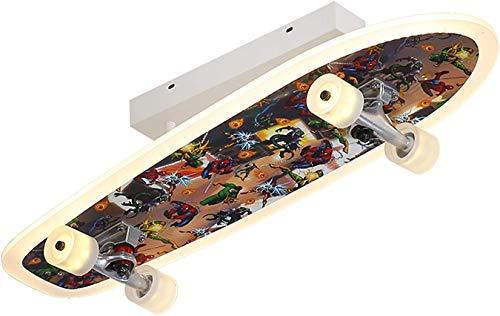 CRJ LED Skateboard Lampe Dimmbar Deckenleuchte Für Kinderzimmer Deckenbeleuchtung Junge Schlafzimmer Deckenlampe Wohnzimmer Mit Fernbedienung Decke Licht Skateboardlampe Metall/Acryl,B