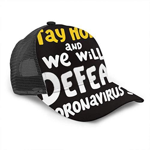 Gorra de béisbol Hombres Mujeres, quédese en casa Derrotaremos Coronavirus Ajustable Trucker Mesh Summer Vented Baseball Sun Cap Sombrero Sombreros para Hombres