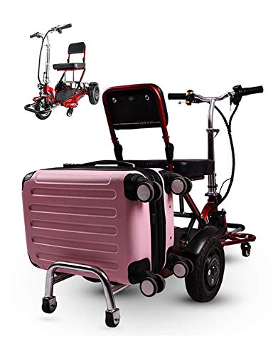 N/Z Life Equipment Patinete de Viaje de 3 Ruedas Ligero Durable Fácil de Plegar Silla de Ruedas eléctrica de Viaje fácil Rojo