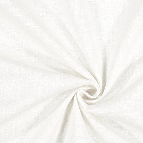Fabulous Fabrics Leinenstoff mittelschwer, Weiss – Leinenstoffe zum Nähen von Leinenhosen, Freizeithemden, Leinenkleider und natürliche Dekoration - Meterware ab 0,5m