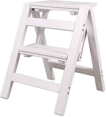 Hngyanp Klapptrittschemel Holzklappleiter - Schritt Hocker Kleinen Holzleiter 2 Etage Schritt Klapphocker - Klapphocker tragbarer Leiter Trittschemel -Kleine Leiter Tritthocker (Color : White)