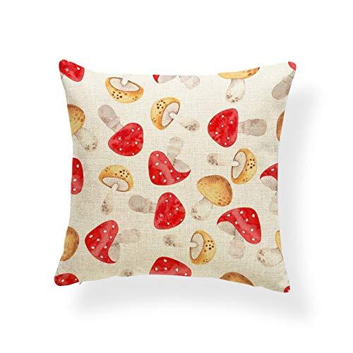 Funda de almohada de lino de algodón de 45,7 x 45,7 cm, divertida funda de cojín de diseño de hojas de hongo y caracol cuadrado de dibujos animados para decoración del hogar, sofá #233