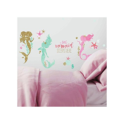 RoomMates RMK3562SCS Mermaid Peel and Stick Wall Decals with Glitter