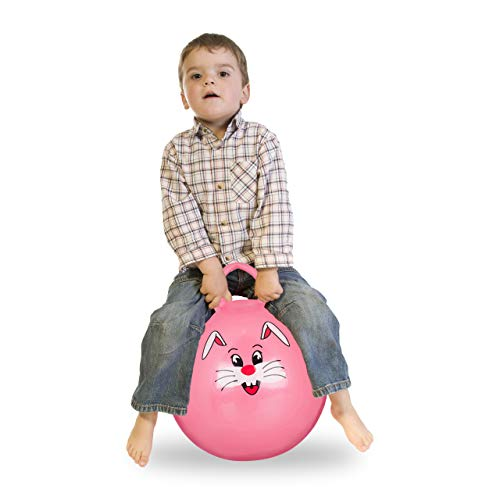 Relaxdays 1 x Hüpfball Kinder, Hase, mit Griff, für Drinnen und Draußen, mit Tier-Motiv, weich, 45 cm Durchmesser, pink
