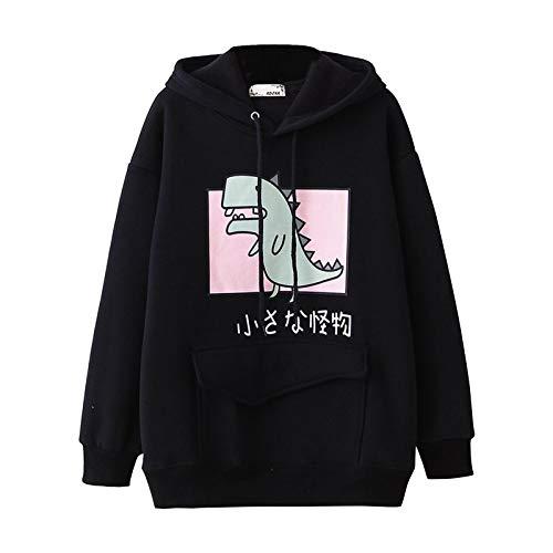 G-Anica Sudadera con Capucha para Mujer Dibujos Dinosaurio Estampado Manga Larga Pullover Sweatshirt Loose Casual Sport Hoodie Top Streetwear