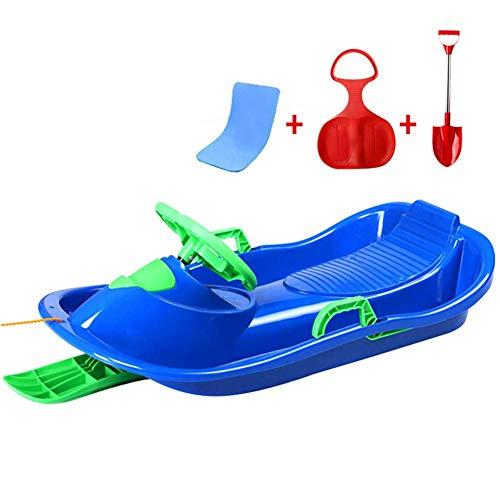 WEHOLY Trineo de plástico con Freno y Volante, Tabla de Snowboard para niños, Tabla de Arena, Tabla de Trineo de tabogán de Invierno, Azul, 1