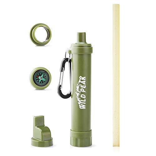 Wild Peak Stay Alive-2 Outdoor Activated Carbon Water Filter Emergency Straw with Compass, Whistle, Signalling Mirror and Carabiner for Survival, Camping, Hiking, Climbing, Backpacking (4000 Liters)