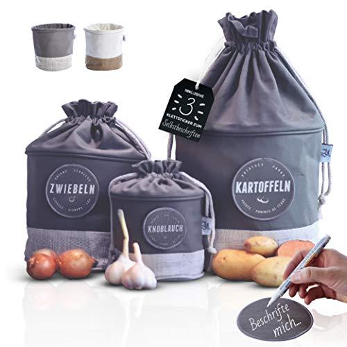 Glückstoff Aufbewahrungsbox 3er-Set aus Stoff [Nachhaltig] Kartoffel Zwiebel Knoblauch-Topf | Küchen-Deko Bad Vorrats-Behälter | Vintage Korb Retro Leinen-Beutel | Lagerung Lebensmittel Gemüse (Grau)