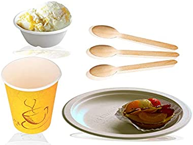 Ssanvi Disposable Dinner Set Heavy Paper 12inch Round Plate + 240 ml Bowl + 14 Cm Wooden Spoon + 250 ml Yellow Glass All Serv