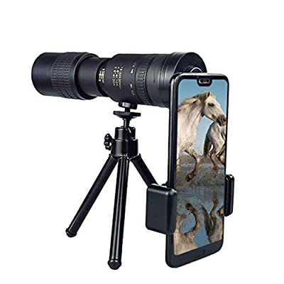 4K 10-300X40mm Super Telephoto Zoom Monocular Telescope with Tripod for Smartphone Portable &Astronomy Beginners,Waterproof , Fogproof, HD,Easy Focus,Night Vision, for Travelling /Camping /Hunting (B)