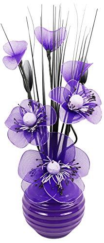 Flourish Flores Artificiales Morado Ciruela Jarrón