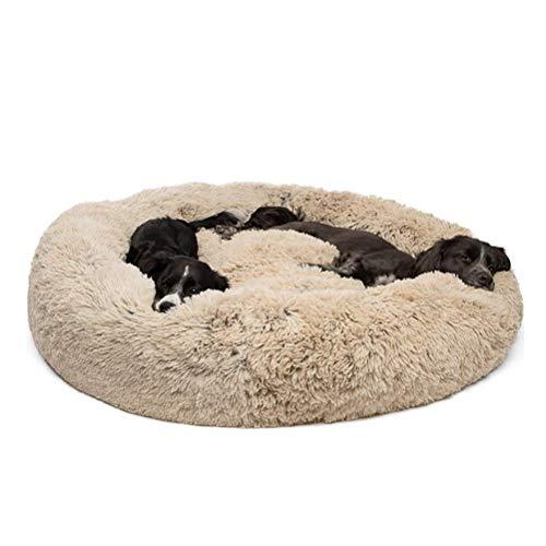 Mascotas Cama Donut,relajantes Cama Redondo Cama Mascotas,Con cremallera inferior que se puede quitar y lavar,para perros pequeños, medianos y grandes Gatos y perros adecuados,Fangqiyi,Marrón,80*80cm