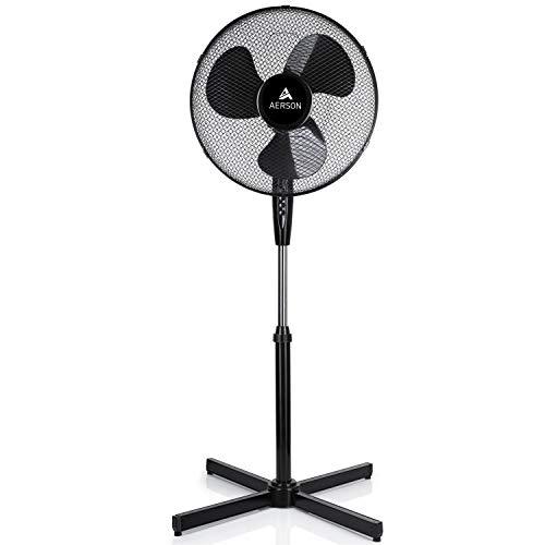 AERSON Standventilator 40cm   Ventilator höhenverstellbar bis 120cm   hoher Luftdurchsatz und sehr leise   Windmaschine mit 3 Geschwindigkeitsstufen   Oszillationsfunktion ca. 80° (Schwarz)