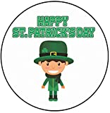 AK Giftshop - Decoración para Tarta de San Patricio, 20 cm, círculo, Duende irlandés, Feliz día de San Patricio