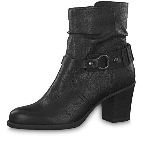 Tamaris Damen Stiefeletten 25340-23, Frauen Stiefelette, Stiefel Boot halbstiefel damenstiefel Bootie gerafft reißverschluss,Black,36 EU / 3.5 UK