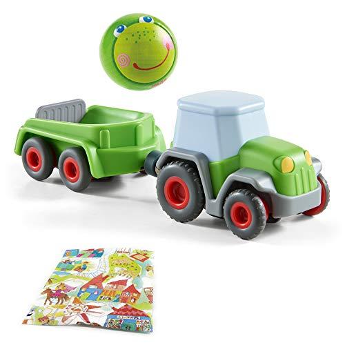 Haba Kullerbü Traktor mit Anhänger und Holzkugel Frosch Fabian Geschenkset ab 2 Jahre