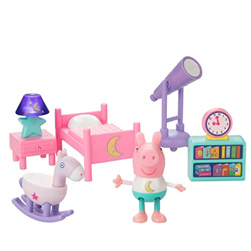 Jazwares Peppa Pig Little Rooms Goodnight Peppa Playset, 6 Pieces - Includes Peppa Figure, Bed, Rocking Horse, Telescope, Book Shelf & Nightstand with Lamp - Ages 2+