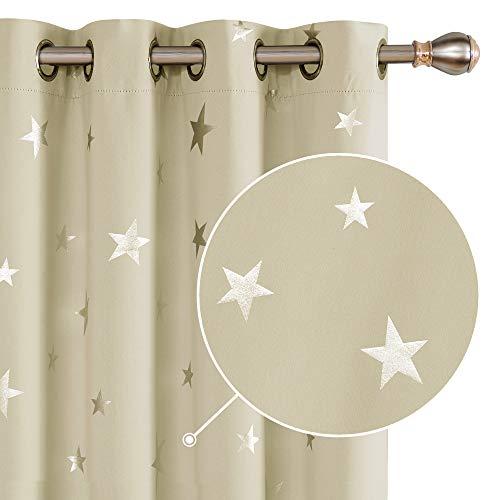 Deconovo Cortinas Dormitorio Moderno Suave Cortina Opaca para Ventanas de Habitación Juvenil Infantiles Estrellas Plateada 140 x 180 cm Beige Oscuro