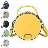 CASAdiNOVA - Bolso de mano redondo para mujer, color negro, amarillo (Amarillo) - CO529