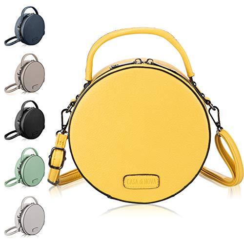 CASAdiNOVA runde Handtasche Damen - veganes Leder, kleine Umhängetasche Damen, Schultertasche - Frauen-Hand-Tasche Gelb