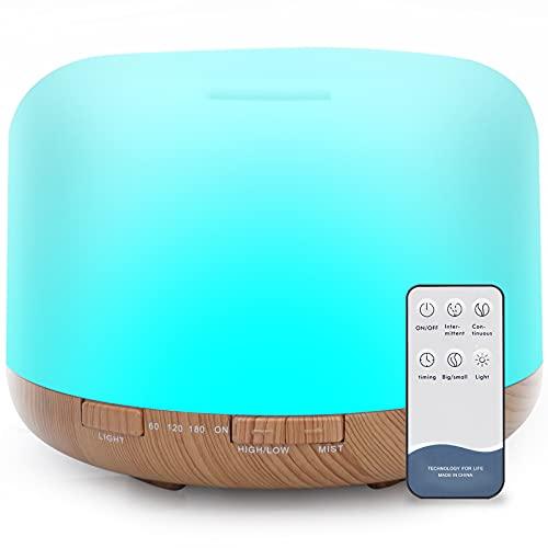 500ml Diffusore di Oli Essenziali, Senza BPA Umidificatore ad Ultrasuoni con Telecomando e 7 Diverse Luci ,4 Timer e 2 Modalità Nebbia -Spegnimento Automatico Senza Acqua