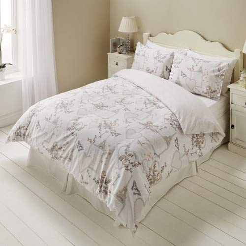 Sleepdown Reversible Printed Romantic Poly Cotton Easy Care Soft Duvet Cover Quilt Bedding Set With Pillowcases - King (220cm x 230cm)