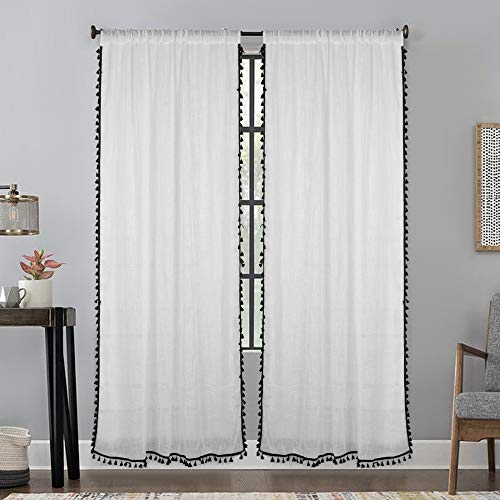 Lahome Boho Semi-Sheer Curtains with Tassel, Linen Solid Color Drapes Farmhouse Rod Pocket Window Curtain Panels for Living Room Bedroom (White, 52 x 84 Inch)