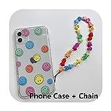 Coque pour iPhone 11 12 Pro Max 8 7 Plus Xsmax XR avec chaîne de téléphone et perles anti-perte