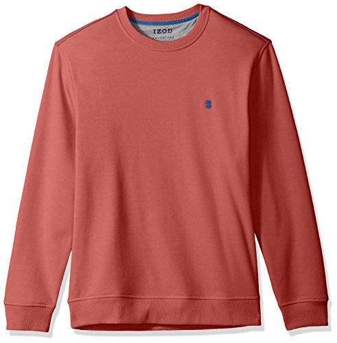 IZOD Men's Advantage Performance Long Sleeve Solid Fleece Soft Crewneck Pullover, Dark Saltwater Red, Small