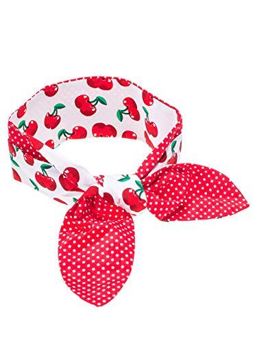 SETRINO Rockabilly Haarband Punkte Kirschen breit rot weiss