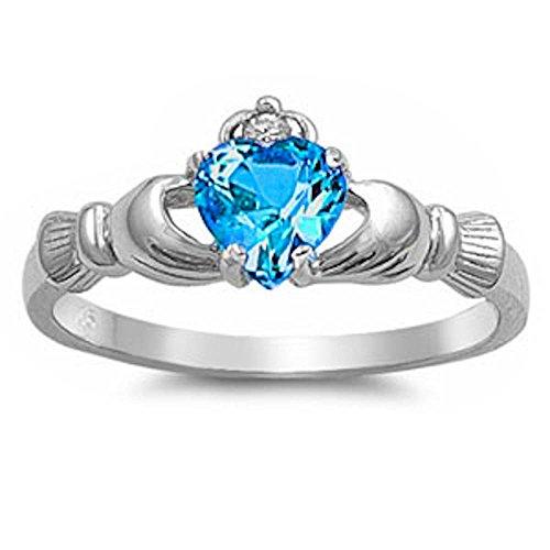 Oxford Diamond Co Blue CZ & Russian Cz Claddagh .925 Sterling Silver Ring...