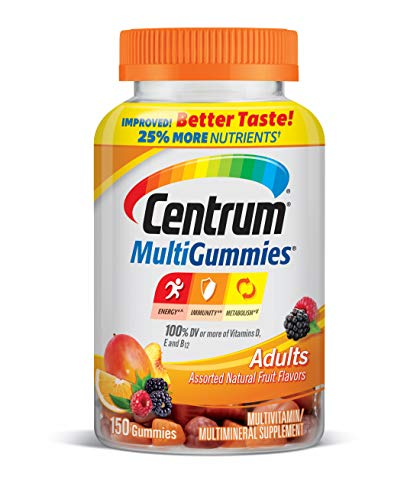 Centrum MultiGummies Gummy Multivitamin for Adults, Multivitamin/Multimineral Supplement with Vitamins D, B and E, Assorted Fruit Flavor - 150 Count