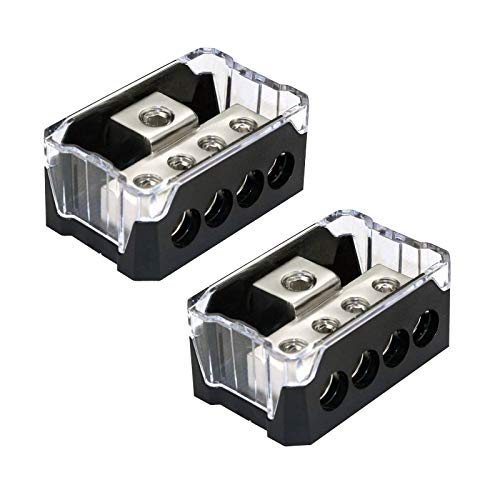 RKURCK 4 Way Power Distribution Block, 0/2/4 AWG Gauge in, 4/8/10 Gauge Out, Car Audio Stereo Amp Distribution Connecting Block for Audio Splitter (1 in 4 Out) 2 Pack