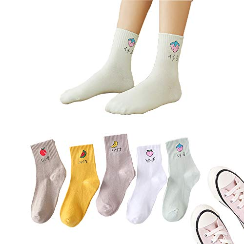Women's Socks, 5pair Fruit Socks Cute Japanese Fashion Casual Socks Novelty Crew Socks Cute Fun Socks