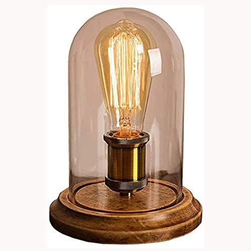 XMDDX Tischlampe, Rustikal Tischlampe Hoch Bronze Metal Runde Seedy Glaszylinder Shade