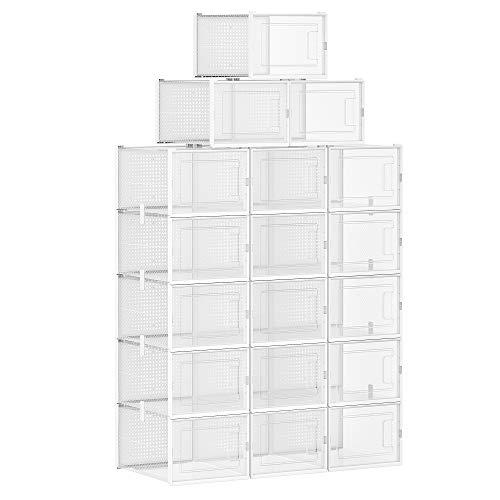 SONGMICS Schuhboxen, 18er Set, Aufbewahrungsboxen für Schuhe, Schuh-Organizer, Kunststoffboxen, faltbar und stapelbar, für Schuhe bis Größe 44, transparent-weiß LSP017W01