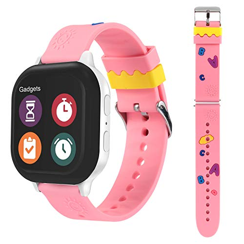 watch with pink bands Cute Gizmo Watch Band Replacement for Kids, Soft Silicone Strap Compatible with Gizmo Watch 2 / Gizmo Watch 1, Lovely Designed Specially for Girls & Boys, Pink ABC