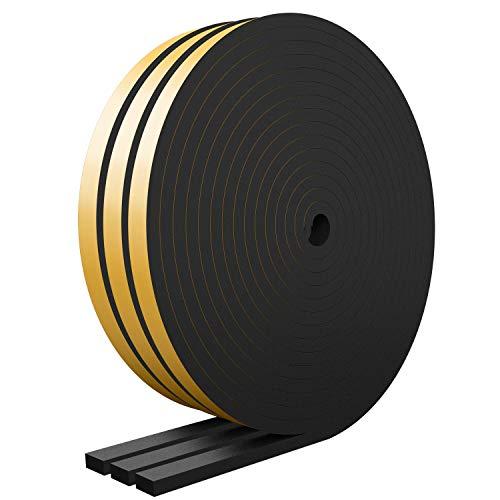 RATEL Tira de Sellado Junta 12 mm (W) * 6 mm (H) * 18 m (L) con Tijeras * 1, Tiras de Sellado Autoadhesivas Anticolisión y Aislamiento Acústico para Grietas y Espacios (Negro)