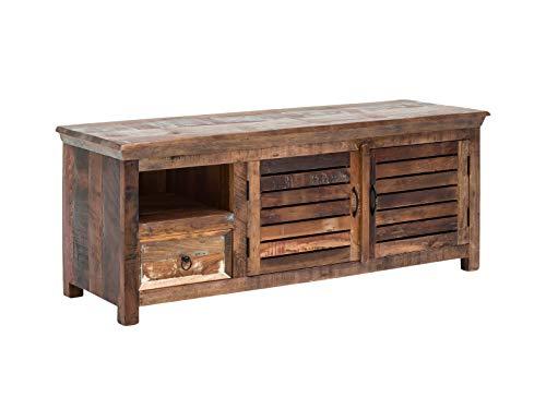 Woodkings® TV-Bank Wakefield recyceltes Massivholz rustikal, farbig, TV-Unterschrank Vintage, Design TV-Möbel Schublade Holzmöbel