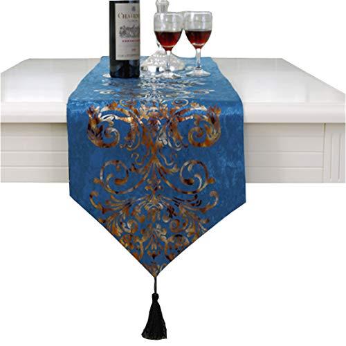 Camino de mesa de lujo con bordado de flores, azul, 33 * 210cm