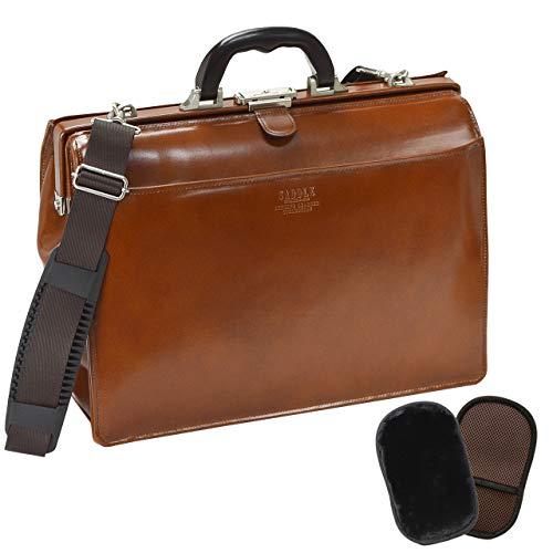 平野鞄 豊岡職人の技 国産 ダレスバッグ 本革 メンズ 口枠 ビジネスバッグ A4 +オリジナル高級ムートングローブ (ブラウン)