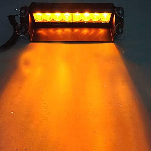 FREEDOH 8 LED Hochintensive LED Strafverfolgungs Notfall Warnblinklichter Für Innendach/Armaturenbrett/Windschutzscheibe Mit Saugnäpfen,Gelb