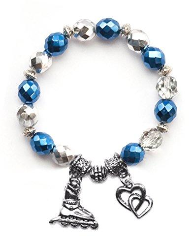 """Inline Hockey Skate"" Girls Roller Hockey Bracelet (Team Colors Navy Blue & Silver)-Large"