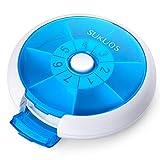 SUKUOS Pillendose Rund 7 Tage Medikamentenbox 7 Fächer Tablettenbox Tabletten Wochenbox - ABS-Materialdeckel-Blau