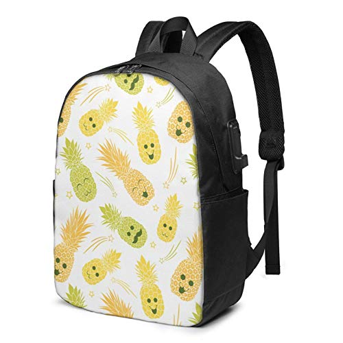 XCNGG Cute Pineapple Family Dad Mom Me Travel Laptop Backpack College School Bag Casual Daypack with USB Charging Port