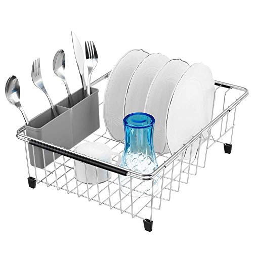 SANNO Deep amp Large Dish Drying Rack Expandable Dishes Drainer Over The Sink Adjustable Arms Dish DrainerDish Rack in Sink or On Counter Utensil Silverware Storage Holder Rustproof Stainless Steel