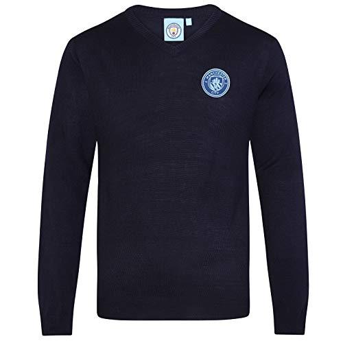 Manchester City FC - Herren Strickpullover mit Vereinswappen - V-Ausschnitt - Offizielles Merchandise - Geschenk für Fußballfans - Dunkelblau - XL