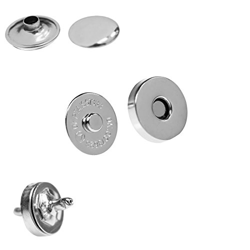 Farbe Silber 10x Magnetverschluss Magnetknöpfe Magnetverschlüsse Ø15mm