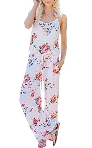 ECOWISH ECOWISH Jumpsuit Damen Elegant Sommer Hosenanzug Blumenmuster Ärmellos Overall Romper Weiß XXL
